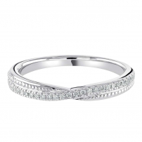 9ct White Gold Diamond and Patterned Wedding Ring