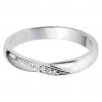 9ct White Gold Diamond Single Twist Wedding Ring