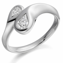 9ct White Gold Pear Shaped Diamond Engagement Ring