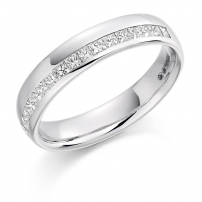 9ct White Gold Princess Cut Diamond Wedding Ring