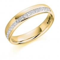 9ct White Gold Princess Cut Diamond Wedding Ring