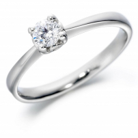 9ct White Gold Single Stone Brilliant Cut Engagement Ring