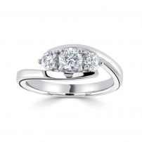 9ct White Gold Three Stone Round Diamond Engagement Ring