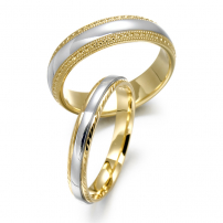 9ct Yellow and White Gold Patterned Wedding Ring Set