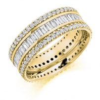 9ct Yellow Gold Baguette and Round Diamond Eternity Ring