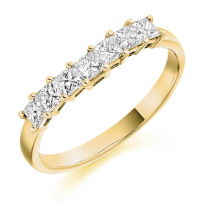 9ct Yellow Gold Half Set Princess Cut Diamond Eternity Ring