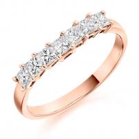 9ct Yellow Gold Half Set Princess Cut Diamond Eternity Ring