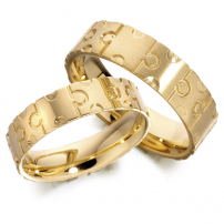 9ct Yellow Gold Puzzle Style Wedding Ring Set