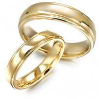 9ct Yellow Gold Rolled Edge Matching Wedding Ring Set