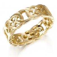 9ct Yellow Open Celtic 7mm Knot Style Wedding Ring