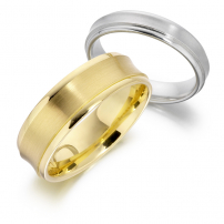 9ct Yellow or White Gold His and Her Matching Concaved Wedding Rings