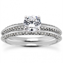 9ct White Gold Diamond Wedding and Engagement Ring Set