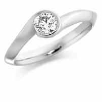 9K White Gold Round Diamond Engagement Ring