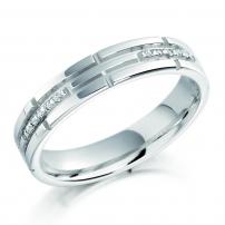 Palladium Diamond Set Patterned Ladies Wedding Ring