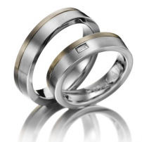 9ct White Gold and Platinum Matching Wedding Rings