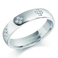 9ct White Gold Mens Diamond Set Wedding Ring