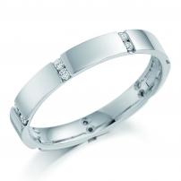 9ct White Gold Multistone Set Diamond Wedding Ring