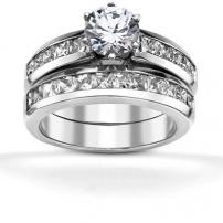 9ct White Gold Princess Cut Diamond Matching Set