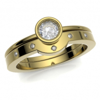 18ct Yellow Gold Curved to Fit Diamond Wedding Ring