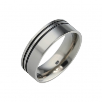 Titanium and Black Grooved Wedding Ring