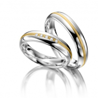 14ct White and Yellow Matching Wedding Rings