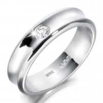 9ct White Gold Concave Diamond Wedding Ring