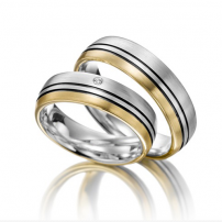 Palladium and 9ct Yellow Gold Two Colour Wedding Ring Set