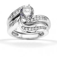 18ct White Gold Diamond Shaped Wedding Ring Set