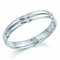 Ladies 18ct White Gold Multi Channel Set Wedding Ring