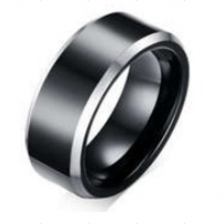 Black and White Tungsten Wedding Ring