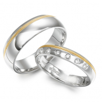 His and Hers Bi-Colour Wedding Ring Set