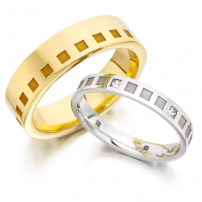 Matching Patterned Wedding Rings HIS and HERS