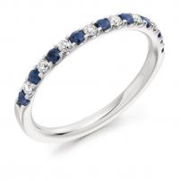 Palladium Diamond and Blue Sapphire Claw Set Wedding Ring