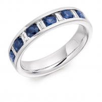 Palladium Diamond and Blue Sapphire Eternity Ring