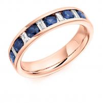 Palladium Diamond and Blue Sapphire Eternity Ring