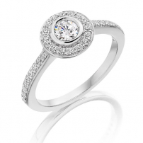 Palladium Diamond Halo Style Engagement Ring