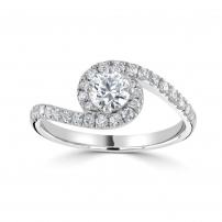 Palladium Diamond Set Halo Cross Over Style Engagement Ring