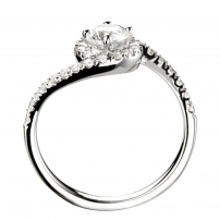 Palladium Diamond Set Halo Cross Over Style Engagement Ring