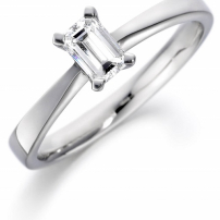 Palladium Emerald Cut Diamond Engagement Ring