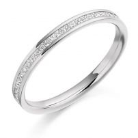 Palladium Half Set Princess Cut Diamond Wedding Ring