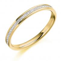 Palladium Half Set Princess Cut Diamond Wedding Ring