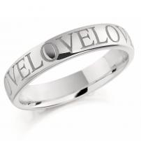 Palladium Laser Engraved Court Shape Wedding Ring