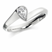 Palladium Pear Shaped Diamond Ring