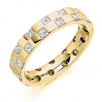Palladium Princess Cut Stagger Set Diamond Wedding Ring