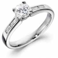 Platinum Brilliant and Baguette Cut Diamond Engagement Ring