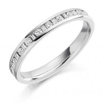 Platinum Brilliant and Baguette Cut Diamond Ring