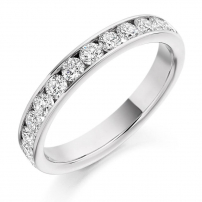 Platinum Channel Set Ladies Diamond Wedding Ring