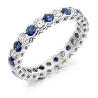 Platinum Diamond and Blue Sapphire Full Eternity Ring