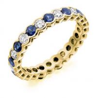 Platinum Diamond and Blue Sapphire Full Eternity Ring