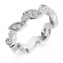 Platinum Diamond Set Vintage Style Wedding Ring